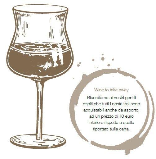 I vini sono acquistabili anche da asporto, ad un prezzo di 10 € inferiore rispetto a quello sulla carta.